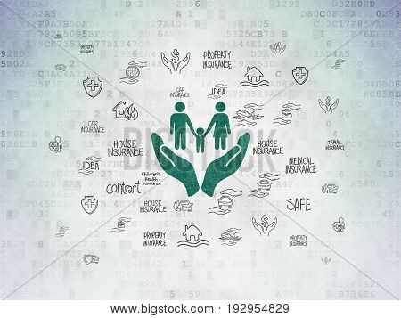 Insurance concept: Painted green Family And Palm icon on Digital Data Paper background with  Hand Drawn Insurance Icons