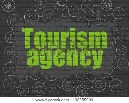 Vacation concept: Painted green text Tourism Agency on Black Brick wall background with Scheme Of Hand Drawn Vacation Icons