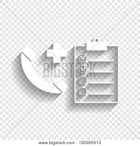 Medical consultation sign. Vector. White icon with soft shadow on transparent background.