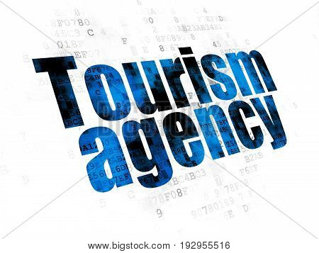 Tourism concept: Pixelated blue text Tourism Agency on Digital background