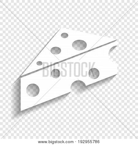 Cheese Maasdam sign. Vector. White icon with soft shadow on transparent background.