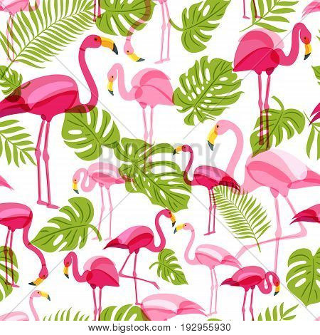 Vector Seamless Pattern With Pink Flamingo And Green Palm Tree Leaves. Summer Tropical Background.