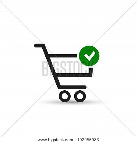 Add to Shopping Cart and Check Mark Icon. Vector isolated web symbol.