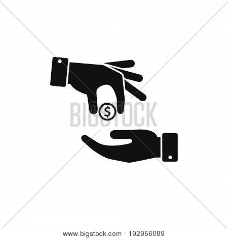Hand gives money coin to other person icon give alms donate web icon. Vector.