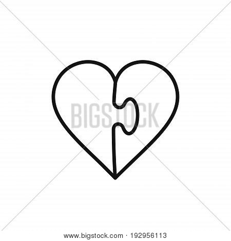 Heart puzzle outline icon vector logo illustration.