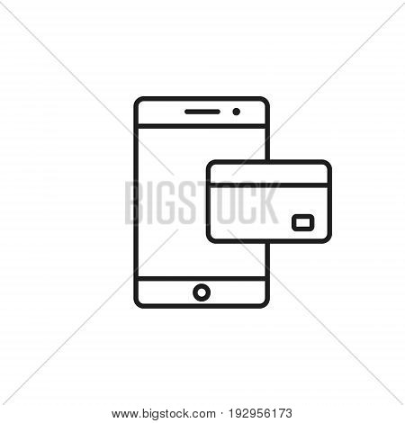 Mobile banking outline icon Vector isolated line symbol.