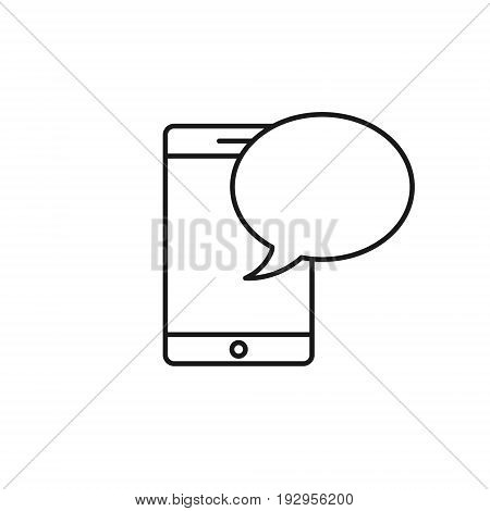 Mobile phone with speech bubble message icon. Vector line symbol.