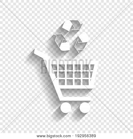 Shopping cart icon with a recycle sign. Vector. White icon with soft shadow on transparent background.