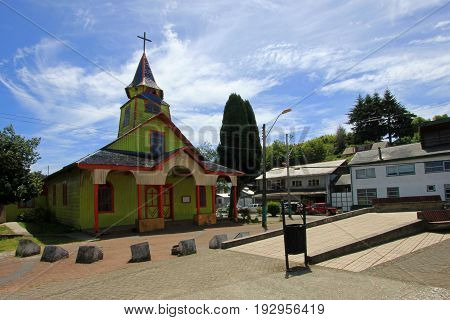 Wooden church on the island of Chiloe, Patagonia, Chile, South America