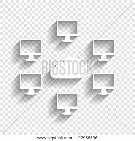 Computers nerk sign. Vector. White icon with soft shadow on transparent background.