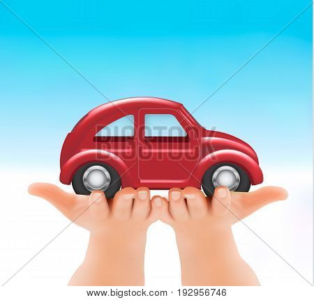 Red car in woman hands. Vector illustration.