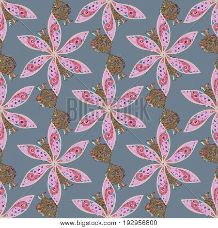 Varicolored vector seamless illustration. Tropical seamless pattern with many abstract flowers.