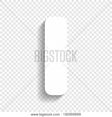Letter I sign design template element. Vector. White icon with soft shadow on transparent background.