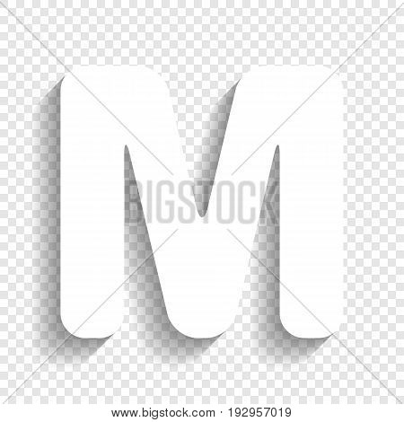 Letter M sign design template element. Vector. White icon with soft shadow on transparent background.