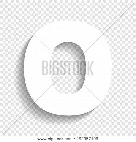 Letter O sign design template element. Vector. White icon with soft shadow on transparent background.