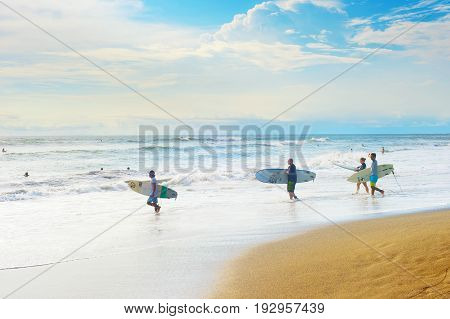 Group Of Surfers, Bali Island