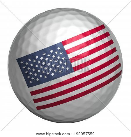 Golf ball with USA flag on white background. Isolated object. 3d illustration