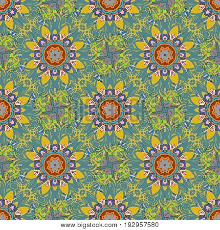 Eps 10. Vector Mandala with hand drawn elements and flowers in Arabic Indian turkish pakistan ottoman motifs. Image for adult coloring books tattoo decorate plates porcelain ceramics crockery