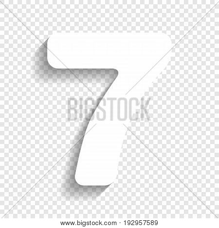 Number 7 sign design template element. Vector. White icon with soft shadow on transparent background.