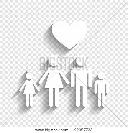 Family symbol with heart. Husband and wife are kept children's hands. Love. Vector. White icon with soft shadow on transparent background.