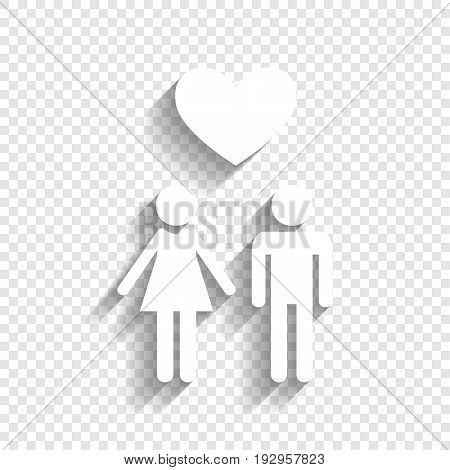 Family symbol with heart. Husband and wife are kept each other's hands. Love. Vector. White icon with soft shadow on transparent background.