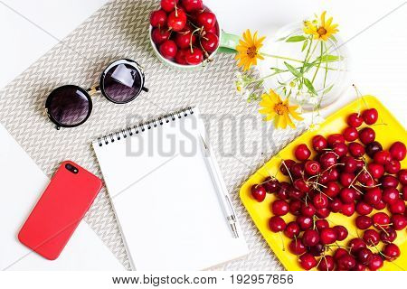 Women's Accessories On A White Background