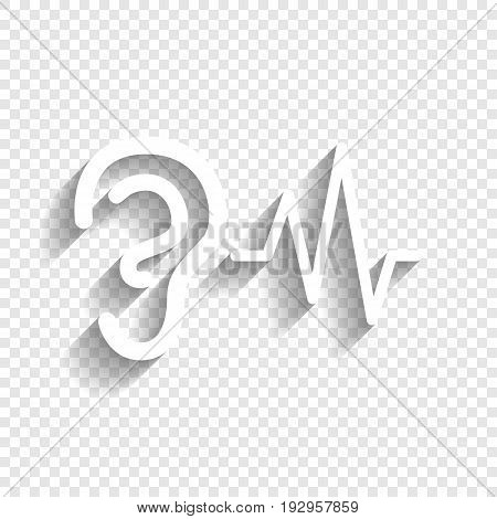 Ear hearing sound sign. Vector. White icon with soft shadow on transparent background.