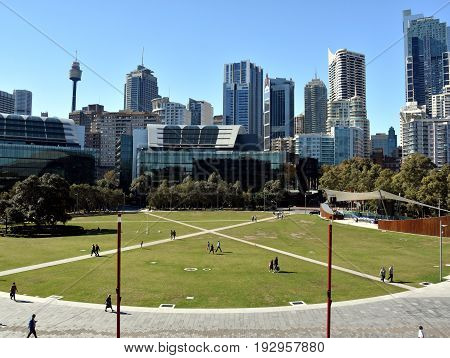 Sydney Australia - May 21 2017. Skyscrapers as seen from the Tumbalong Park near Darling Harbour in Sydney Australia