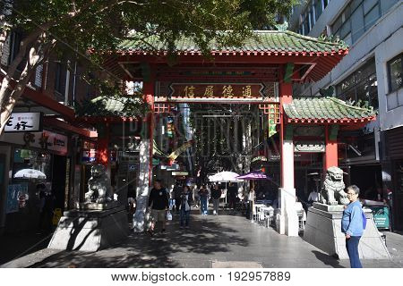 Sydney Australia - May 21 2017. Chinatown gate at Dixon Street in Sydney. View of people visiting Chinatown in Sydney. It is Australia's largest chinese district.