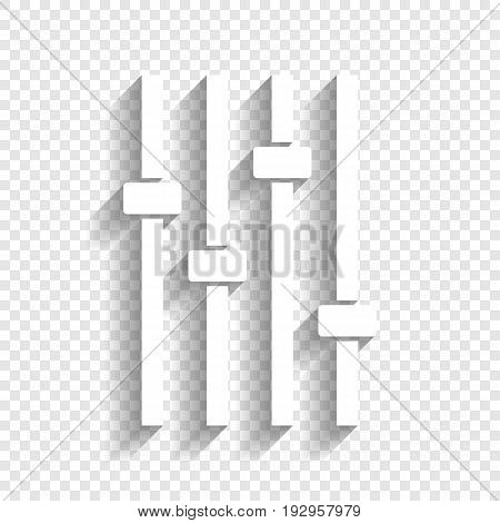 Adjustment music line sign. Vector. White icon with soft shadow on transparent background.