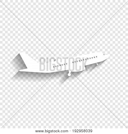 Flying Plane sign. Side view. Vector. White icon with soft shadow on transparent background.