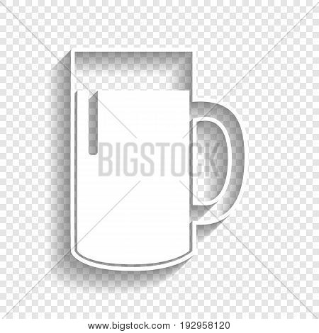 Beer glass sign. Vector. White icon with soft shadow on transparent background.