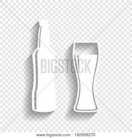Beer bottle sign. Vector. White icon with soft shadow on transparent background.