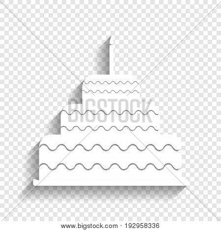 Cake with candle sign. Vector. White icon with soft shadow on transparent background.