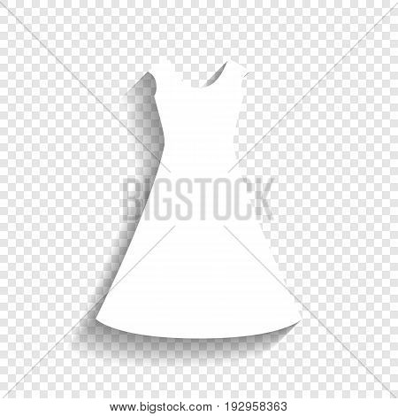 Beautiful long dress sign. Vector. White icon with soft shadow on transparent background.
