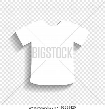 T-shirt sign. Vector. White icon with soft shadow on transparent background.