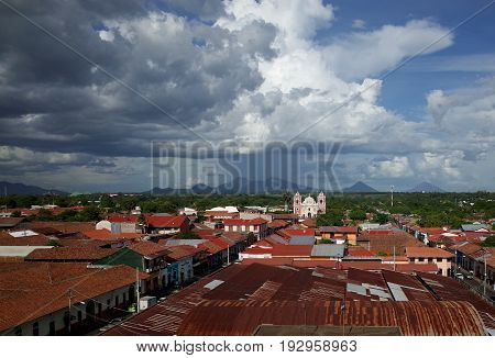 A Tropical Storm Blows Over Volcanoes In The Distance In Leon, Nicaragua