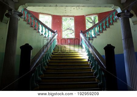 Old Colonial Stair Cases In The Sandinista Museum In Leon, Nicaragua