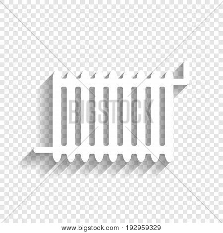 Radiator sign. Vector. White icon with soft shadow on transparent background.