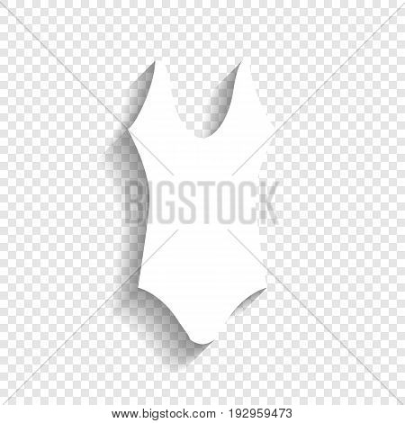 Woman's swimsuit sign. Vector. White icon with soft shadow on transparent background.