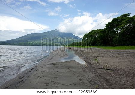 A View Of Volcan Maderas From A Beach On Isla Ometepe