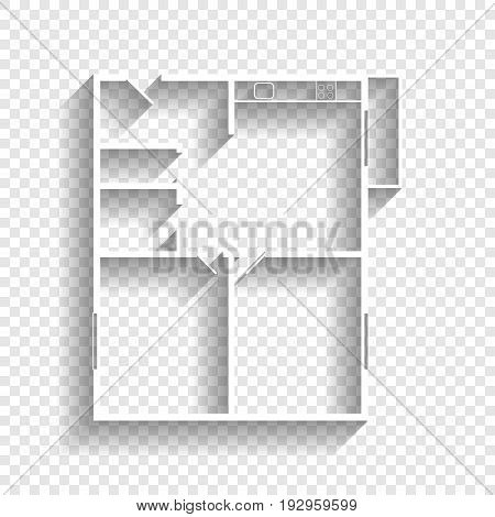 Apartment house floor plans. Vector. White icon with soft shadow on transparent background.