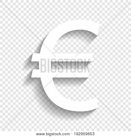 Euro sign. Vector. White icon with soft shadow on transparent background.