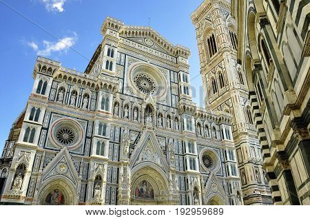 Florence Italy,November 2nd 2010.Abstract image of the Duomo bell tower and Baptistery in Florence Italy.