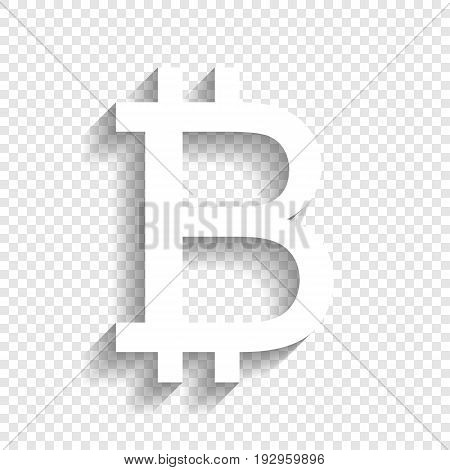Bitcoin sign. Vector. White icon with soft shadow on transparent background.