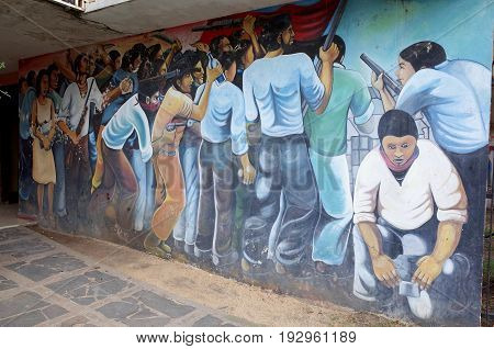 25Th August 2014, Esteli, Nicaragua - A Sandinista Mural Outside The Fsnl Headquarters In Esteli Sho