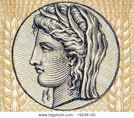 GREECE - CIRCA 1940: Demeter the Goddess of Grain and Fertility on on 10 Drachmai 1940 banknote form Greece.