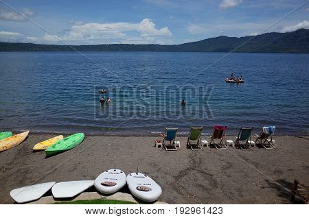 13Th September 2014, Granada, Nicaragua - Tourists Relax At Largo De Apoyo, A Volcanic Crater Lake N