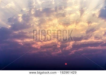 The rising sun, sky cloud sunrise abstract, background