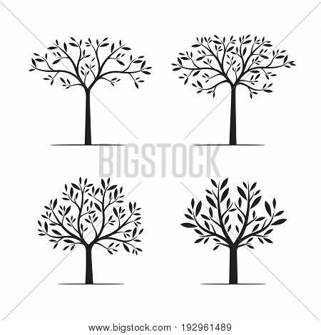 Set black Trees with Leaves. Vector Illustration and graphic element.